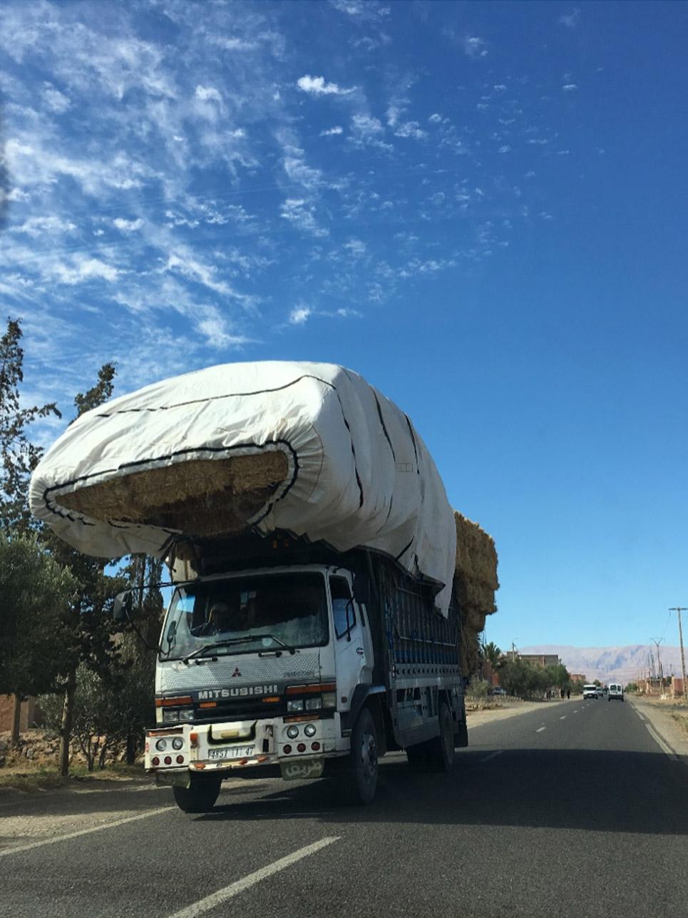 Begegnung des Tages: Solche vollgepackten Lastwagen sieht man hier sehr häufig.